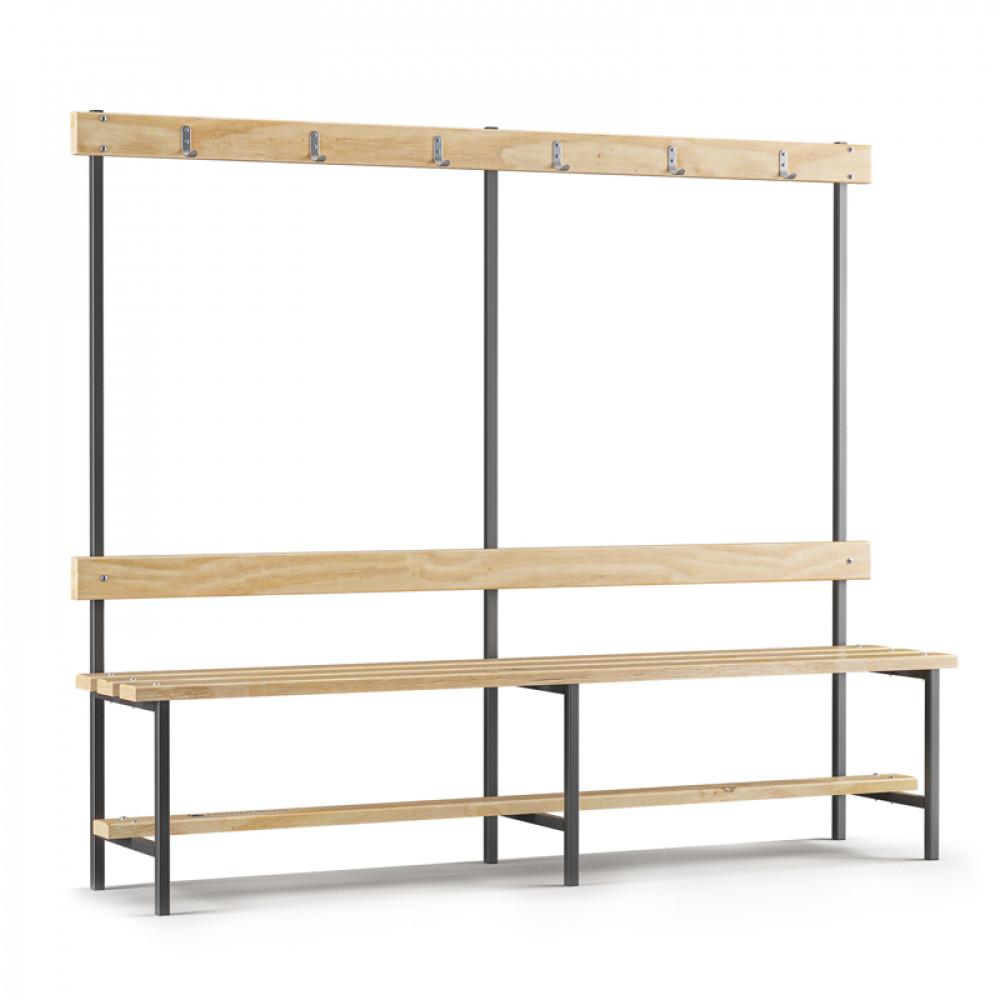 Скамейка с вешалкой для раздевалки (L=2000)