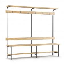Скамейка с вешалкой для раздевалки с верхней полкой (L=2000)