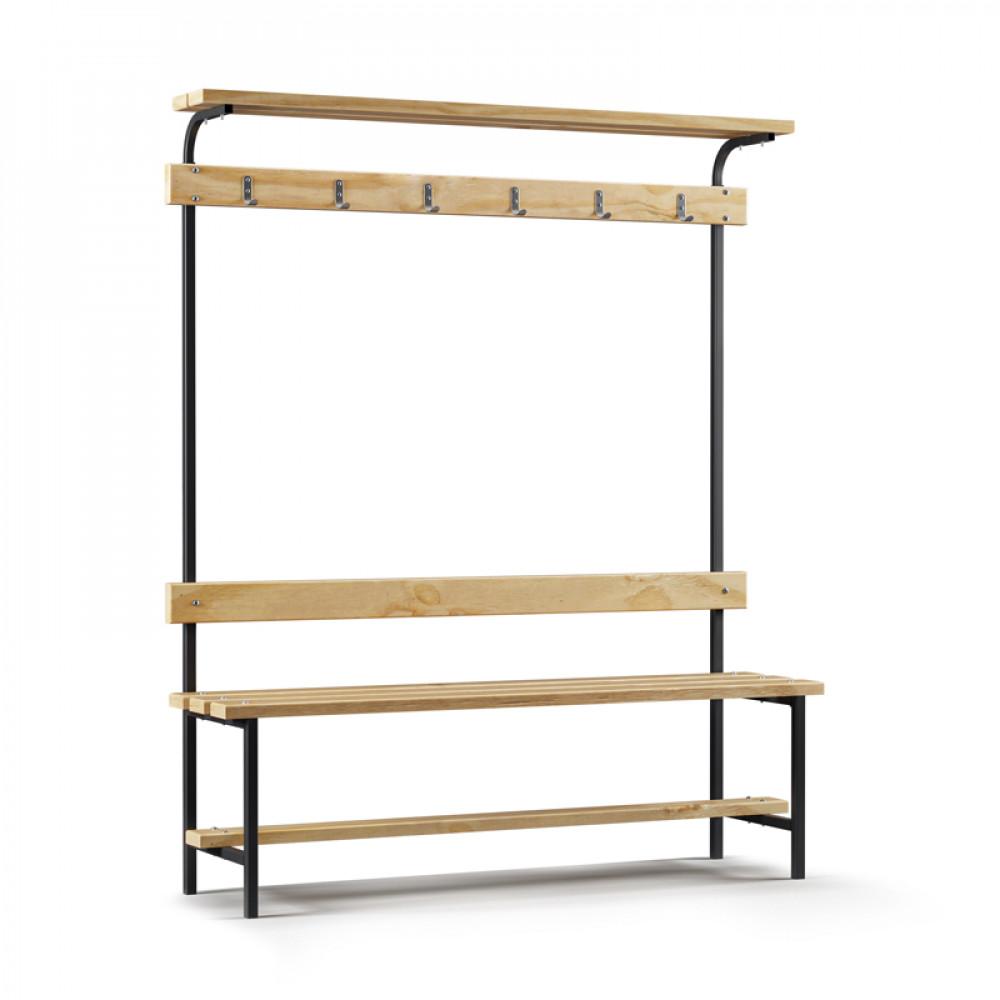 Скамейка для раздевалки с вешалкой и верхней полкой (L=1500)
