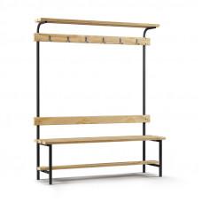 Скамейка с вешалкой для раздевалки с верхней полкой (L=1500)