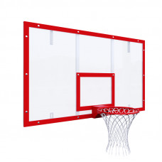 Щит баскетбольный игровой 1800х1050 на раме ОРГСТЕКЛО цвет разметки КРАСНЫЙ