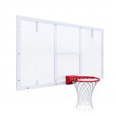 Щит баскетбольный игровой 1800х1050 на раме ОРГСТЕКЛО цвет разметки БЕЛЫЙ