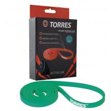 """Эспандер """"TORRES латексная петля"""" арт. AL0046, длина 208 см, шир.1,3 см, сопротивление 15 кг,зеленый"""