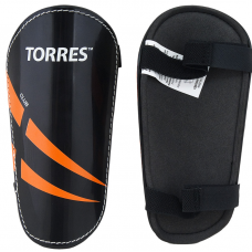 """Щитки """"TORRES Club"""" арт.FS1607XS, р. XS,S. M. L без голеностопа, две заст. на лип, черно-оранж-белый"""