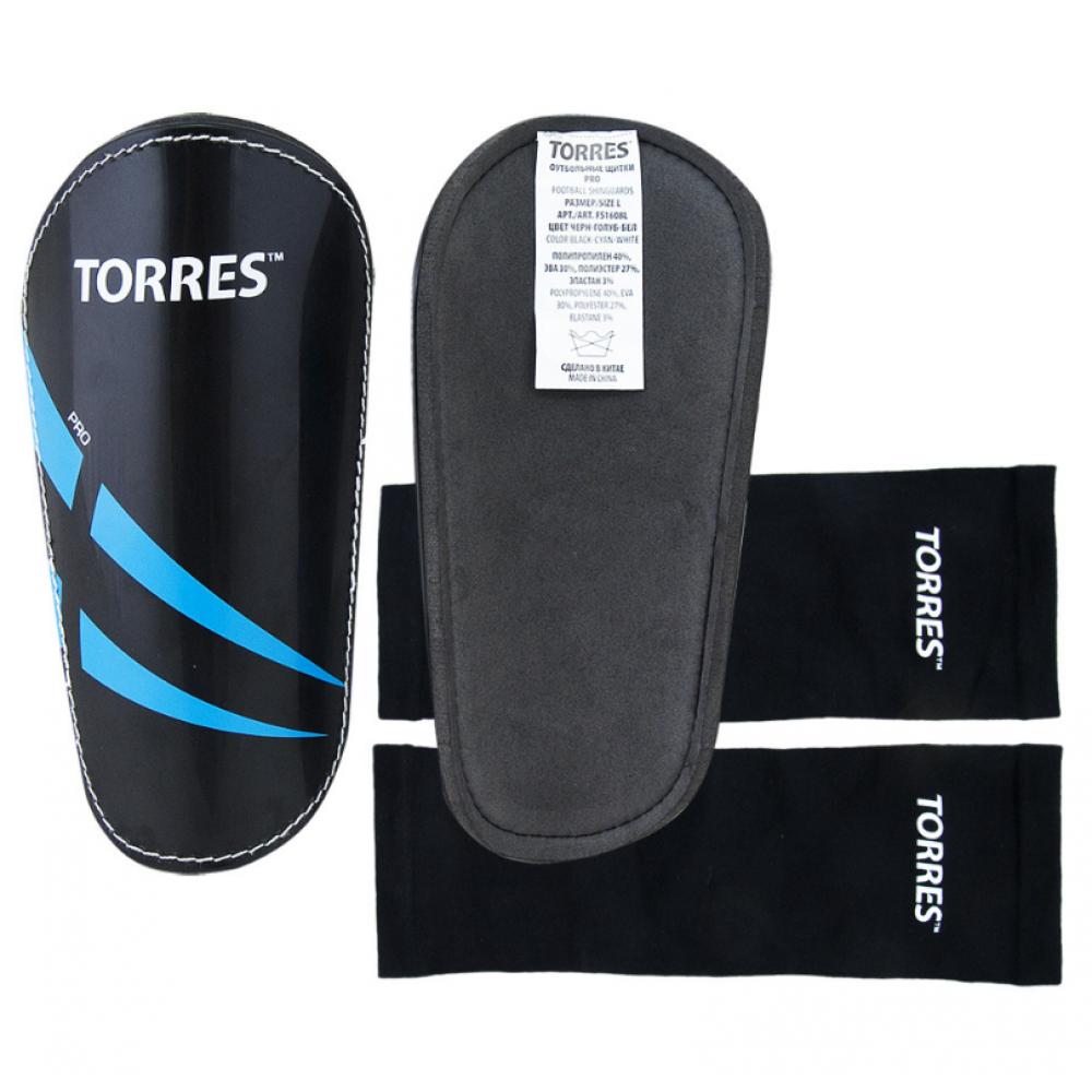 "Щитки ""TORRES Pro"" арт.FS1608, р. S,L,M без голеностопа, без заст., эласт.чулок, черно-сине-белый"