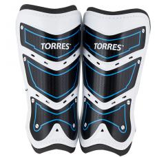 """Щитки """"TORRES Training"""" арт. FS1505S-BU, р.S,M.L без голеностопа, две заст. на лип, черно-бело-синий"""