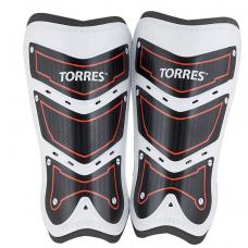 """Щитки """"TORRES Training"""" арт. FS1505S-RD, р.S.M.L без голеностопа, две заст. на лип, черно-бело-красн"""