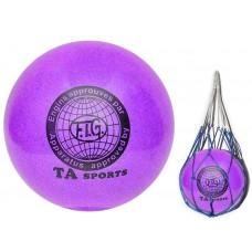 Мяч для художественной гимнастики диаметр 15 см. (фиолетовый) с добавлением глиттера