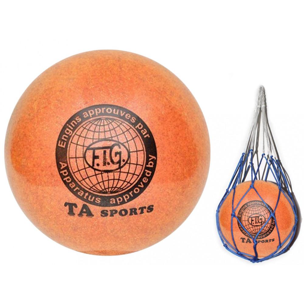 Мяч для художественной гимнастики диаметр 15 см. (оранжевый) с добавлением глиттера