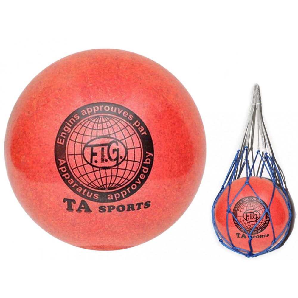 Мяч для художественной гимнастики диаметр 15 см. (красный) с добавлением глиттера