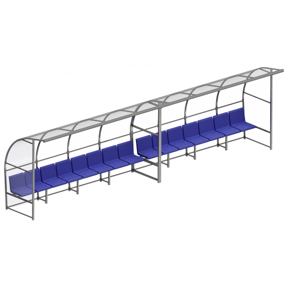 Скамейка для запасных игроков с навесом на 15 посадочных мест
