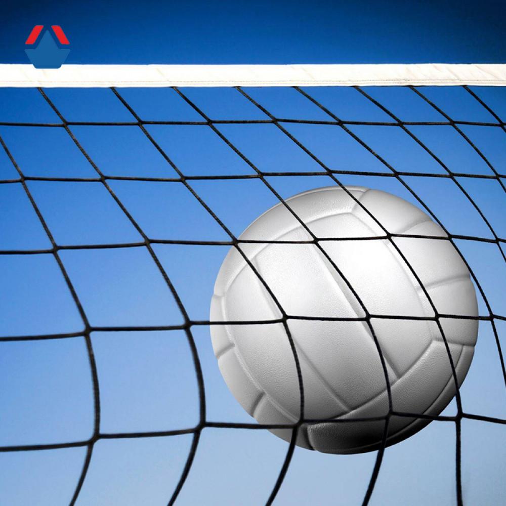 Сетка волейбольная 9,5м х 1,0м , яч. 100 мм, д. 4,5 мм, белая, стропа с 4 сторон + трос метал. д. 4